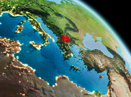 Satellite morning view of Macedonia highlighted in red on planet Earth. 3D illustration. Stock Photo
