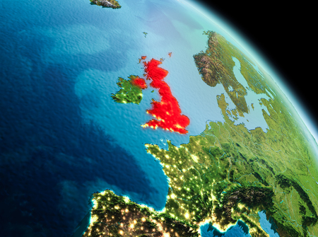 Satellite morning view of United Kingdom highlighted in red on planet Earth. 3D illustration.