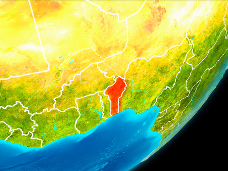 Map of Benin in red as seen from space on planet Earth with white borderlines. 3D illustration.