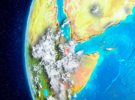 Map of Djibouti as seen from space on planet Earth with clouds and atmosphere. 3D illustration.