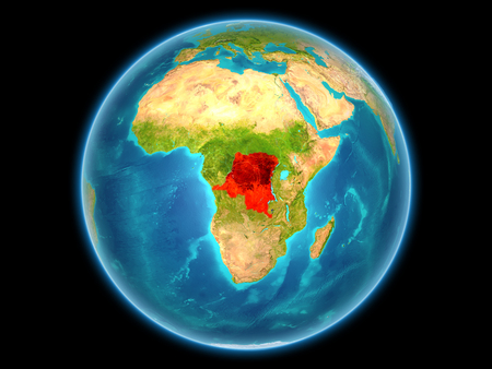Democratic Republic of Congo in red on planet Earth as seen from space on full sphere. 3D illustration.