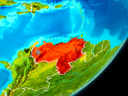Map of Venezuela in red as seen from space on planet Earth with white borderlines. 3D illustration. Stock Photo