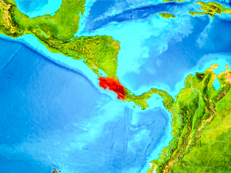 Costa Rica highlighted in red on planet Earth. 3D illustration. 版權商用圖片