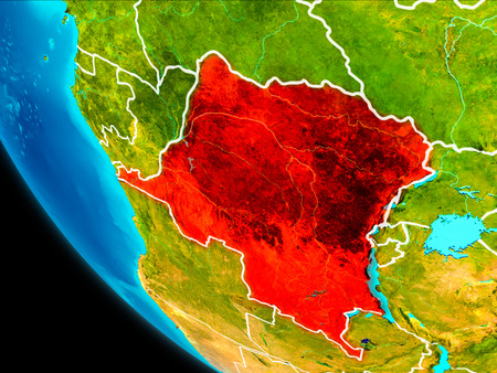 Democratic Republic of Congo highlighted in red on planet Earth with visible borders. 3D illustration.