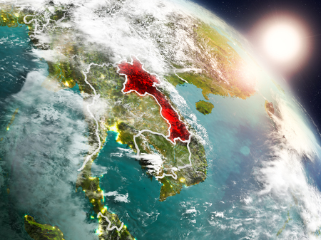 Sunset above Laos from space on planet Earth with visible country borders. 3D illustration. Stock Photo