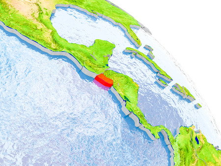 Illustration of El Salvador highlighted in red on glob with realistic surface with visible country borders, and water in the oceans. 3D illustration.