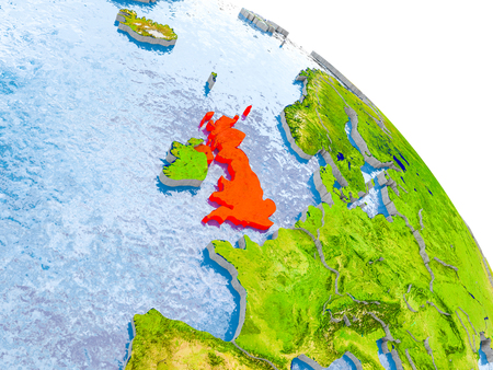 Illustration of United Kingdom highlighted in red on glob with realistic surface with visible country borders, and water in the oceans. 3D illustration. Stock Photo