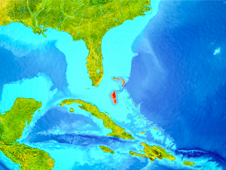 Bahamas highlighted in red on planet Earth. 3D illustration. Stock Photo