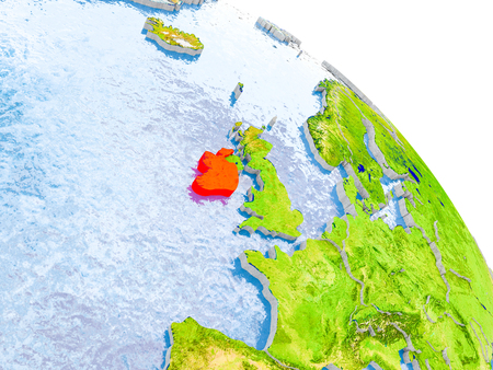 Illustration of Ireland highlighted in red on glob with realistic surface with visible country borders, and water in the oceans. 3D illustration.