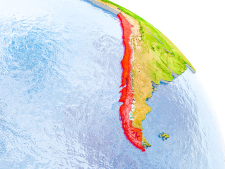 Illustration of Chile highlighted in red on glob with realistic surface with visible country borders, and water in the oceans. 3D illustration.