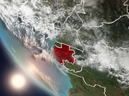 Illustration of Gabon as seen from Earth's orbit during sunset with visible country borders. 3D illustration. . Stock Photo