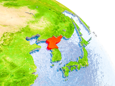 Illustration of North Korea highlighted in red on glob with realistic surface with visible country borders, and water in the oceans. 3D illustration.