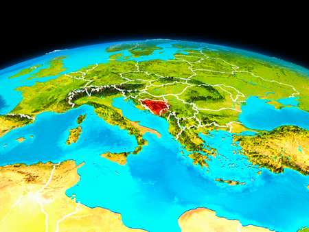 Satellite view of Bosnia and Herzegovina highlighted in red on planet Earth with borderlines. 3D illustration.