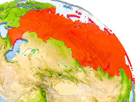 Illustration of Russia highlighted in red on glob with realistic surface with visible country borders, and water in the oceans. 3D illustration.