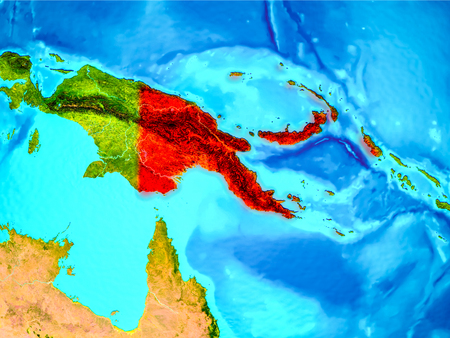 Papua New Guinea highlighted in red on planet Earth. 3D illustration. Stock Photo