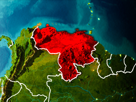 Venezuela in the morning highlighted in red on planet Earth with visible border lines and city lights. 3D illustration.
