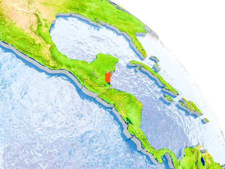 Illustration of Belize highlighted in red on glob with realistic surface with visible country borders, and water in the oceans. 3D illustration. Stock Photo