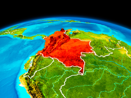 Satellite view of Colombia highlighted in red on planet Earth with borderlines. 3D illustration. Reklamní fotografie