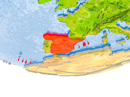 Spain on 3D model of globe with real land surface, visible country borders and water in place of ocean. 3D illustration.
