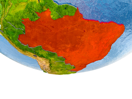 Brazil on 3D model of globe with real land surface, visible country borders and water in place of ocean. 3D illustration. Stock Photo