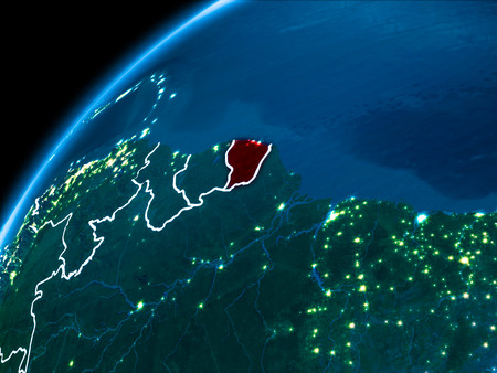 French Guiana highlighted in red from Earth's orbit at night with visible country borders. 3D illustration.
