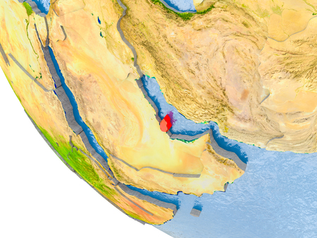 Map of Qatar in red on globe with real planet surface, embossed countries with visible country borders and water in the oceans. 3D illustration. Stock Photo