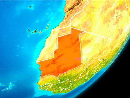 Map of Mauritania in red as seen from space on planet Earth with white borderlines. 3D illustration. Фото со стока
