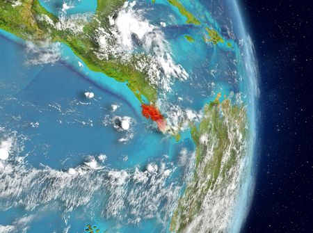 Space view of Costa Rica highlighted in red on planet Earth with atmosphere. 3D illustration.