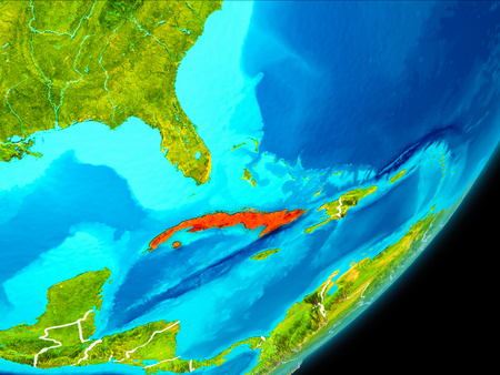 Map of Cuba in red as seen from space on planet Earth with white borderlines. 3D illustration.