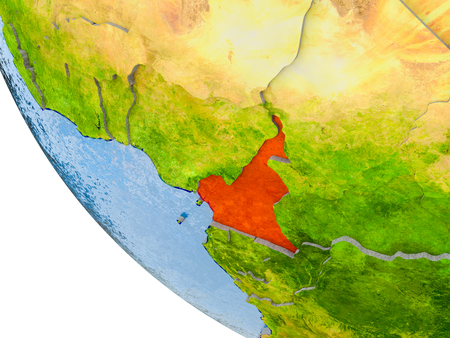 Map of Cameroon in red on globe with real planet surface, embossed countries with visible country borders and water in the oceans. 3D illustration. Imagens