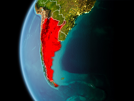 Evening over Argentina as seen from space on planet Earth with visible border lines and city lights. 3D illustration.