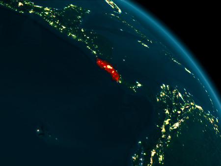 Orbit view of Costa Rica at night highlighted in red on planet Earth with highly detailed surface textures. 3D illustration. Stock Photo