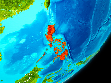 Map of Philippines in red as seen from space on planet Earth with white borderlines. 3D illustration. Stock Photo