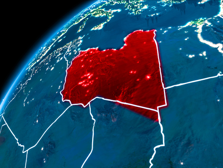 Libya highlighted in red from Earth's orbit at night with visible country borders. 3D illustration.