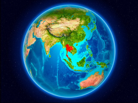Thailand in red from Earth's orbit. 3D illustration. 스톡 콘텐츠
