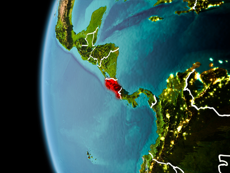 Evening over Costa Rica as seen from space on planet Earth with visible border lines and city lights. 3D illustration. Stock Photo
