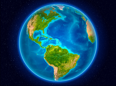 Caribbean in red from Earth's orbit. 3D illustration.