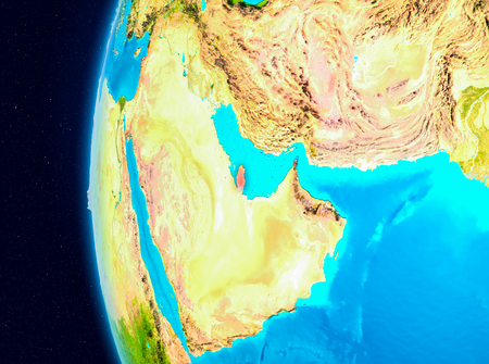 Illustration of Qatar as seen from Earth's orbit on planet Earth. 3D illustration. Stock Photo