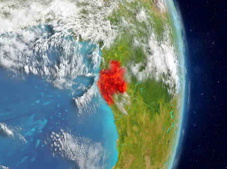 Space view of Gabon highlighted in red on planet Earth with atmosphere. 3D illustration.
