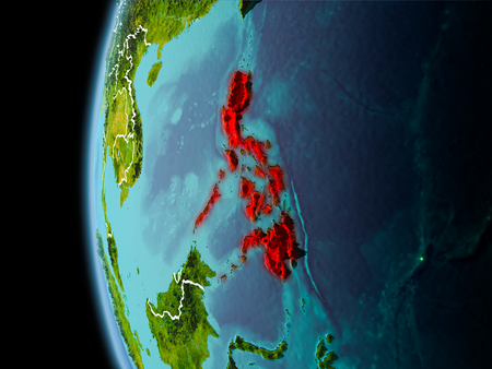 Evening over Philippines as seen from space on planet Earth with visible border lines and city lights. 3D illustration.