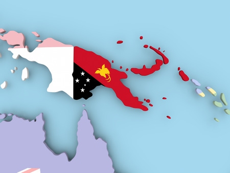 Papua New Guinea with embedded flag. 3D illustration.