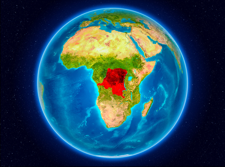 Democratic Republic of Congo in red from Earth's orbit. 3D illustration. Stock Photo