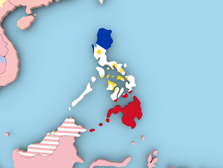 Philippines with embedded flag. 3D illustration.