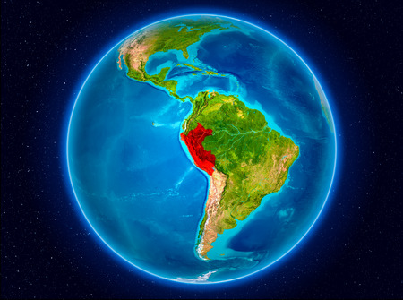 Peru in red from Earth's orbit. 3D illustration. 写真素材