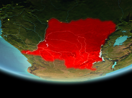 Democratic Republic of Congo from orbit of planet Earth at night with highly detailed surface textures. 3D illustration.