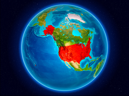 USA in red from Earth's orbit. 3D illustration.