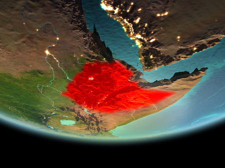 Ethiopia from orbit of planet Earth at night with highly detailed surface textures. 3D illustration.
