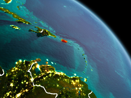 Early morning view of Puerto Rico highlighted in red on planet Earth with visible border lines and city lights. 3D illustration.