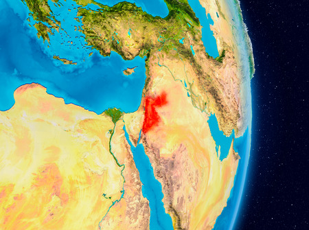 Country of Jordan in red on planet Earth. 3D illustration.
