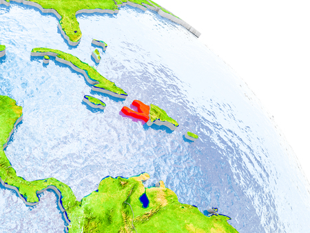 Illustration of Haiti highlighted in red on glob with realistic surface with visible country borders, and water in the oceans. 3D illustration. Stock Photo